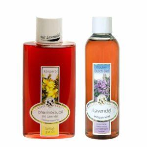 Johanniskrautoel-mit-Lavendel--200ml-und-Lavendel-Duschbad-200ml-im-Set-Apostel-Kraeuter